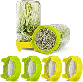 Sprouting Lids, KOMAKE 4 Pack Plastic Sprout Lids with Stainless Steel Screen for Wide Mouth Mason Jars, Germination Kit S...