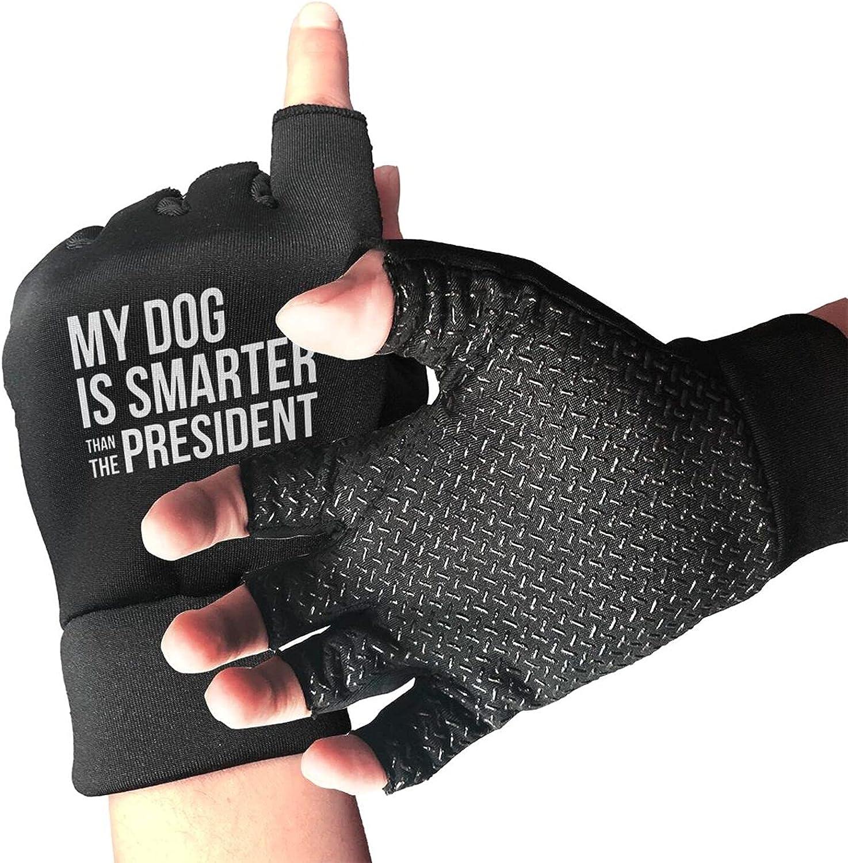 My Dog Is Smarter Than The President Non-Slip Driving Gloves Breathable Sunblock Fingerless Gloves For Women Men