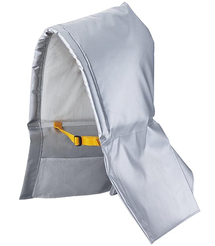寝てるバルク上にデビカ 収納ケース付防災ずきんアルミ 140521