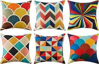 Topfinel Lot de 6 Housse de Coussin 40x40 Géométrique Coloré Taie d'oreiller Coton Lin Décoration Canapé Salon Coussin Sc