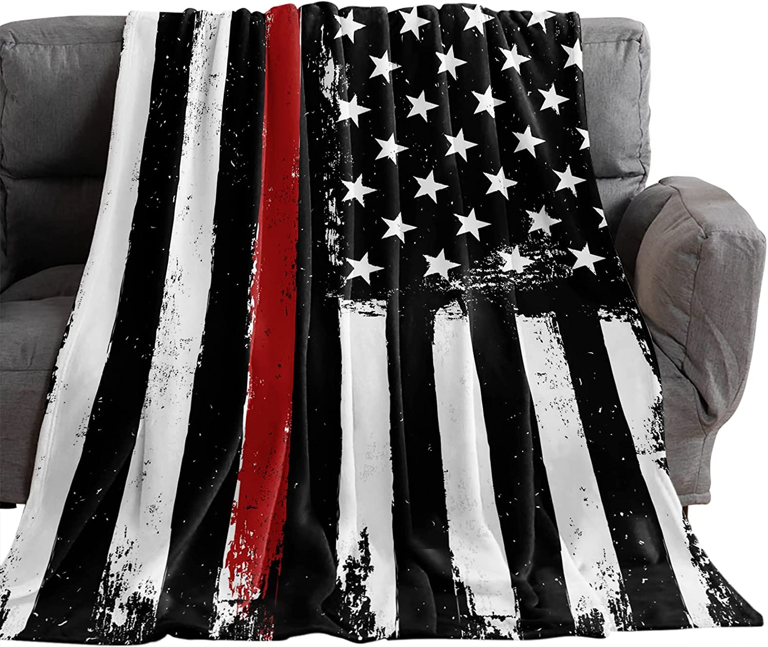 Same day shipping OneHoney Abstract American Red Lines Firefighter Flag Throw Low price Blan