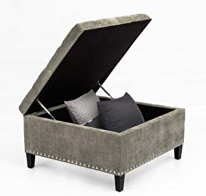 Joveco Storage Ottoman Square Bench for Living Room or Bedroom (Grey)
