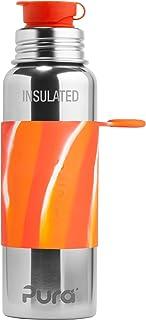 Pura Sport Vacuum Insulated 22 oz / 650 ml Stainless Steel Water Bottle with Silicone Sport Flip Cap & Sleeve, Orange Swir...