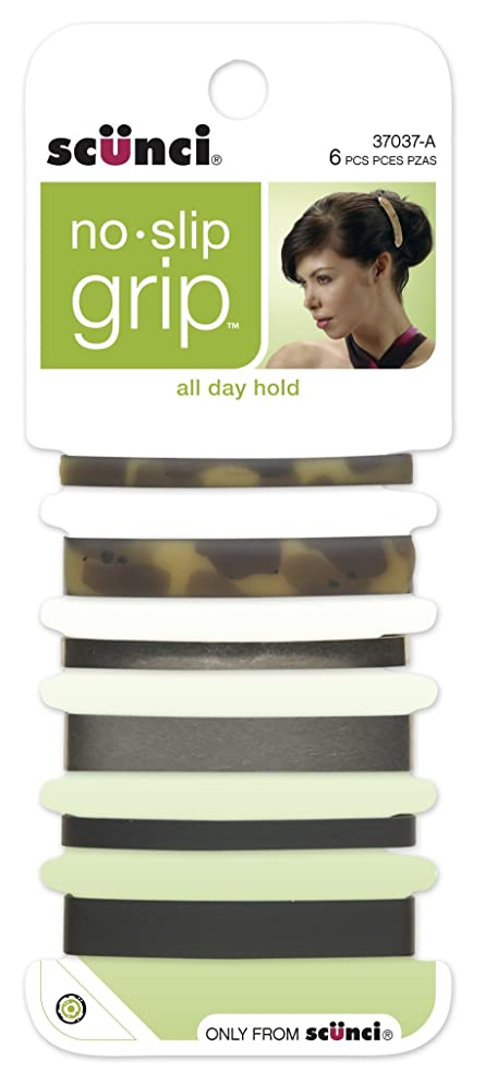 Scunci No-slip Grip Stay Tight Barrettes, 6 Count, Colors May Vary