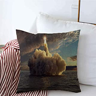 Decorative Throw Pillow Cover Space Bomb Cruise Missile Launched Water Sunset Science Cg Nuclear Technology Rocket Warhead Launch Linen Pillowcase Square Size 16