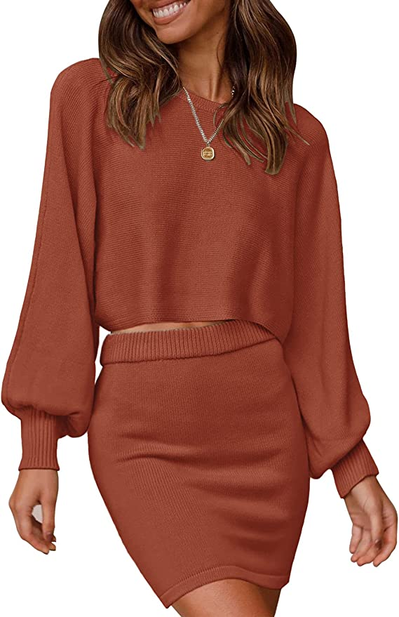 MEROKEETY Women's Puff Sleeve 2 Piece Knit Outfits Solid Color Crop Top Bodycon Skirt Set Sweater
