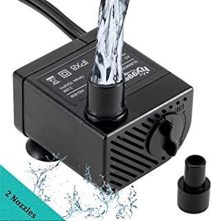 hygger Ultra Quiet 53GPH (200L/H, 3W) Submersible Mini Water Pump Comes with 2 Nozzles, for Aquariums, Fish Tank, Fountain, Hydroponics, Max Lift Height 1.7ft,120V/60HZ, Power Cord 6ft