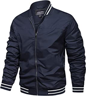 TACVASEN Men's Bomber Jacket Lightweight Outdoor Jacket Casual Baseball Sport Jacket Coat Tactical Windbreaker with Pockets