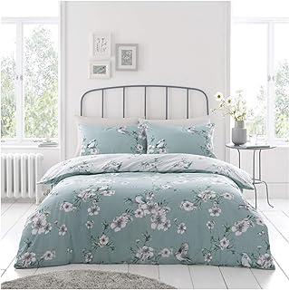 Gaveno Cavailia Premium Birdie Blossom Duvet Cover, Reversible Quilt Bedding Set, Luxury Quality, Duck-Egg, Super-King, Po...