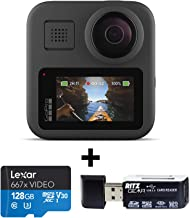 GoPro MAX — Waterproof 360 + Traditional Camera with Touch Screen Spherical 5.6K30 HD Video 16.6MP 360 Photos 1080p Live Streaming Stabilization with Lexar 128GB and Ritz Gear Memory Card Reader