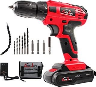 "20V Max/18V Electric Cordless Drill - 3/8"" Keyless Chuck, Lightweight Cordless Drill,Rechargeable Lithium-Ion battery Drill/Driver,Durable&Fast Application Speeds Dirll kit by AUTOJARE"