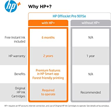 HP OfficeJet Pro 9015e Wireless Color All-in-One Printer with bonus 6 free months Instant Ink with HP+ (1G5L3A)