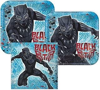 Black Panther Paper Dessert Plates and Napkins, 16 Servings, Bundle- 3 Items