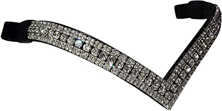 Full 16 Inches, Black Cwell Equine Designer Center Pearl with Clear crystals Browband Black//Brown
