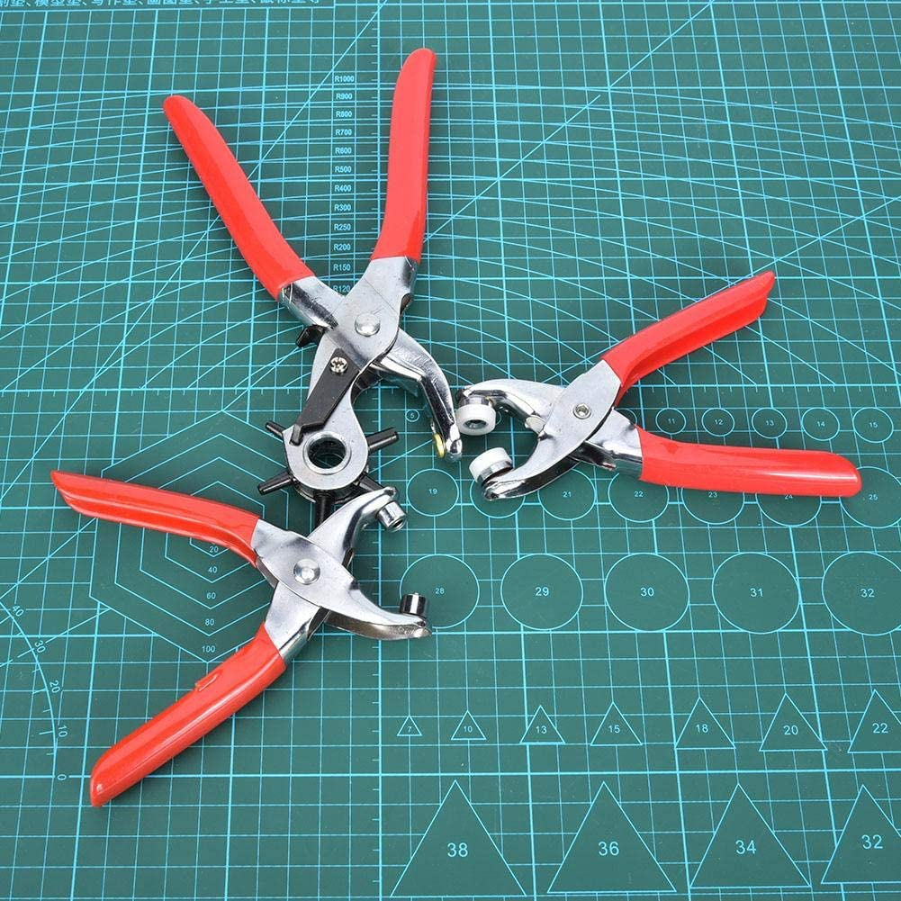 Red Handle 3-Piece Punch Pliers High Hardness Punch Pliers Belt Puncher Convenient PU Leather for Leather