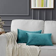 GIGIZAZA Gold Velvet Decorative Throw Pillow Covers for Sofa Bed 2 Pack Soft Cushion Cover, Velvet, Peacock Green, 12 x 20...