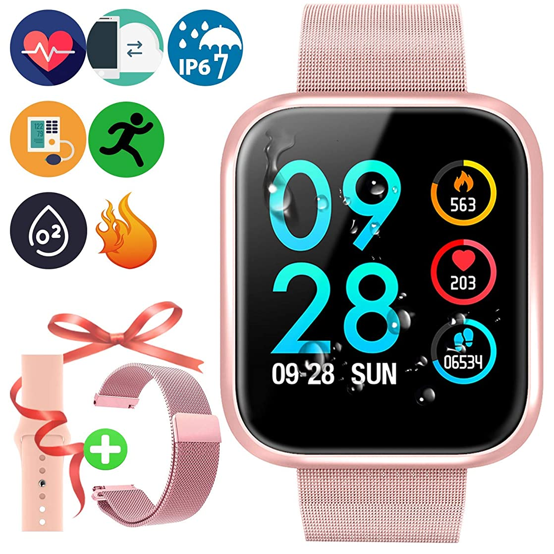 Xiaojun Smart Watch Round IP68 Waterproof Fitness Tracker Sport Watch with Heart Rate Sleep and Chick, for iOS/Android,Pink pvehanjq26545