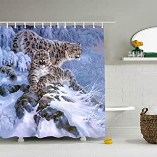 Lievon Snow Leopards - Shower Curtain - Water, Soap, and Mildew Resistant - Shower Hooks are Included