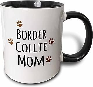 3dRose 154078_4 Border Collie Dog Mom Mug, 11 oz, Black