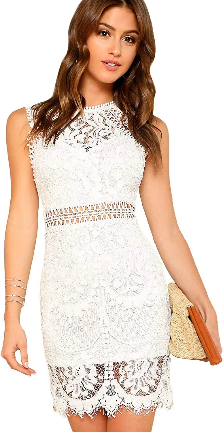 Verdusa Women's Sleeveless Scalloped Hem Fitted Floral Lace Bodycon Dress
