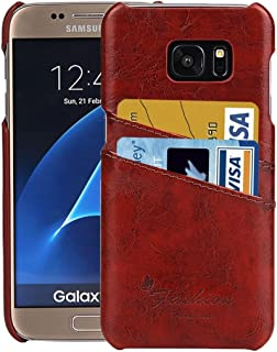 Protective Case Compatible with Samsung Compatible Samsung Galaxy S7 / G930 Oil Wax Texture Leather Back Cover Case with Card Slots Phone case (Color : Brown)