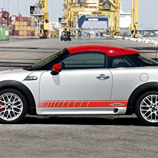JCW John Cooper Works Side Door Racing Stripes Skirt Sill Decal Sticker for MINI Cooper S (Red)