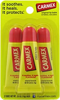 Carmex Original Flavor Moisturizing Lip Balm Tube Value Pack,0.35 Ounce (3 Count)
