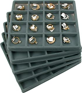 FindingKing 5 Gray 16 Slot 1/2 Size Jewelry Display Tray Inserts New
