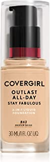 COVERGIRL Outlast Stay Fabulous 3-in-1 Foundation, 842 Medium Beige
