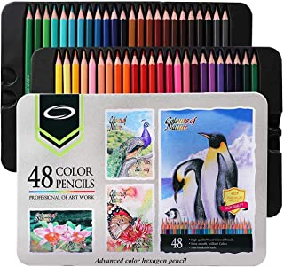 48 Premium Colored Coloring Pencils Set, band Numbered, with Metal Box, Vibrant Colour, Perfect Adult Colouring Books, Kids School Art Supplies, 48 perfect gifts for adult or child artist beginners.
