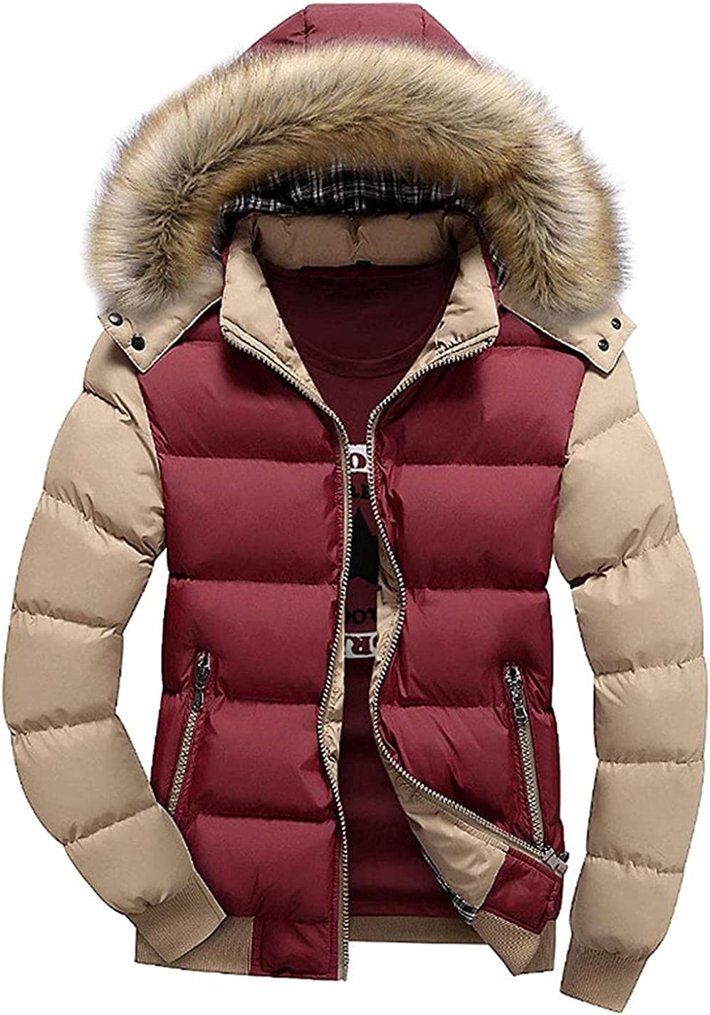 Men's Full Zip Contrast Color Fur Trim Hooded Padding Puffer Jacket Outerwear