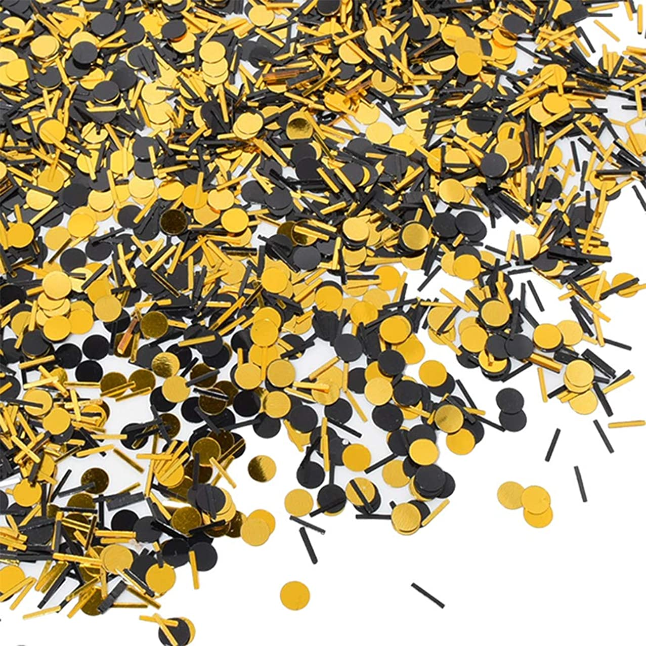3.5 oz Confetti Dots and Stick Black Gold Shinny Confetti Circles 1/4 Inch Metallic Dot Confetti for Birthday Wedding Holiday Party Decoration Supplies?(About 13000 Pcs)