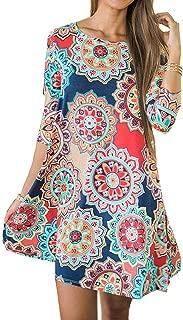 Women 3/4 Sleeve Floral Print T Shirt Dress with Pocket