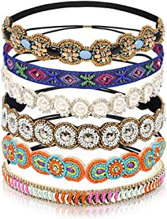 Teenitor 6 Pieces Elastic Rhinestone Beaded Women Headbands, Handmade Vintage Jewelry Hair Bands for Girl Hair Accessories 20-26.8'' Multicolor