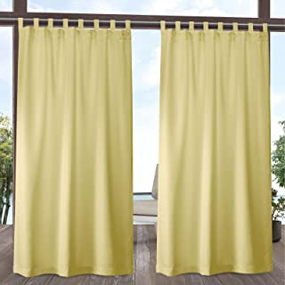 Exclusive Home Curtains Indoor/Outdoor Solid Cabana Tab Top Curtain Panel Pair, 54x108, Sundress