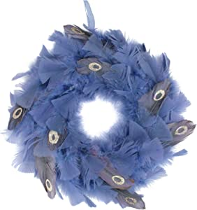 """Northlight 12"""" Blue and Gray Feather Artificial Christmas Wreath - Unlit"""
