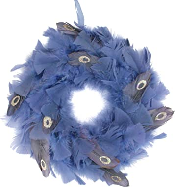 "Northlight 12"" Blue and Gray Feather Artificial Christmas Wreath - Unlit"