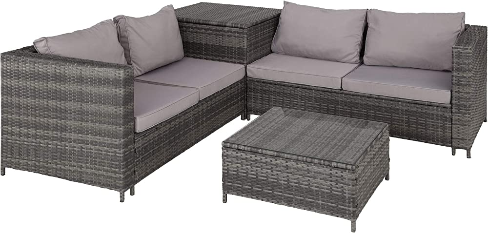 Tectake salottino in rattan, 2 divani con cuscini, 1 tavolo con piano in vetro 800678