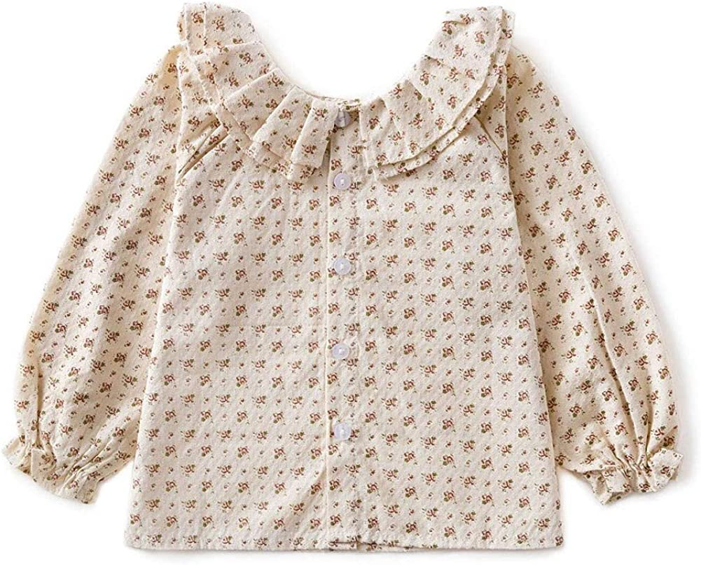 Toddler Baby Girls Blouse Long Sleeve Solid Floral Clothes Spring Fall Casual Cotton Tops Shirt
