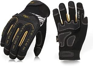 Vgo 5Pairs High Dexterity Heavy Duty Mechanic Glove, Rigger Glove, Anti-vibration, Anti-abrasion, Touchscreen (Size L, Black, SL8849)