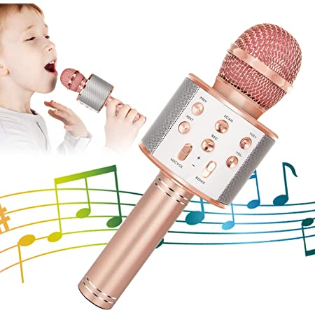 dyplay Wireless Bluetooth Karaoke Microphone with Speaker Portable Handheld Karaoke Mic Home Party Blue 8 Level Reverb/&4 Magic Sound Effects for Smartphone//PC