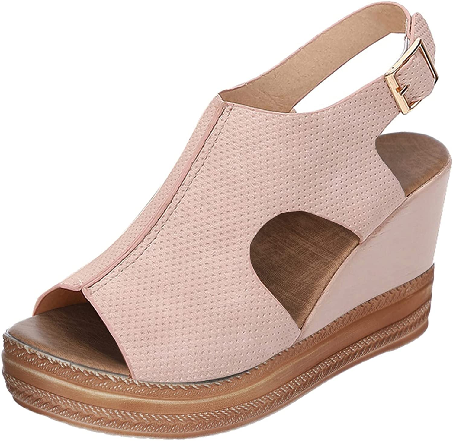 ZiSUGP Women's Special sale item Ladies Award Solid Wedges Casual Roman Buckle Strap Sho