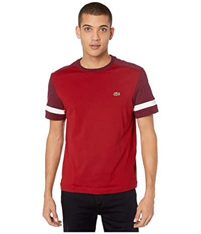 Lacoste Short Sleeve Jersey Color Block T-Shirt Regular (Alizarin/Vine Chine/Flour) Men
