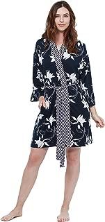 Women's Sleepwear Two-Piece Soft Comfortable Kimono Bathrobe and Twin Print Nightshirt