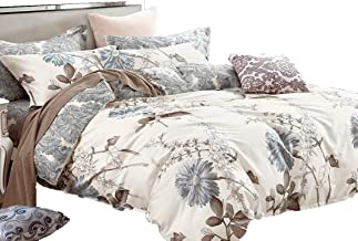 Swanson Beddings Daisy Silhouette Reversible Floral Print 5-Piece 100% Cotton Bedding Set: Duvet Cover, Two Pillowcases an...