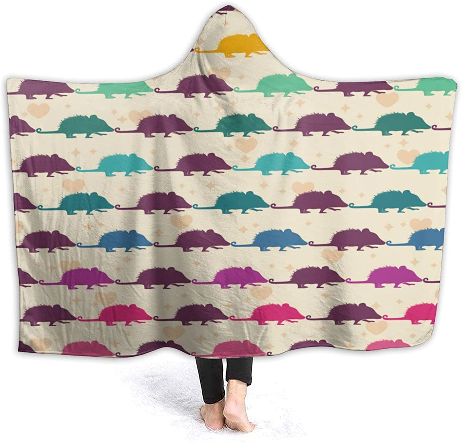 Opossum Pattern Hooded SEAL limited product Blanket Cute Throw Swims on T Sea Chicago Mall
