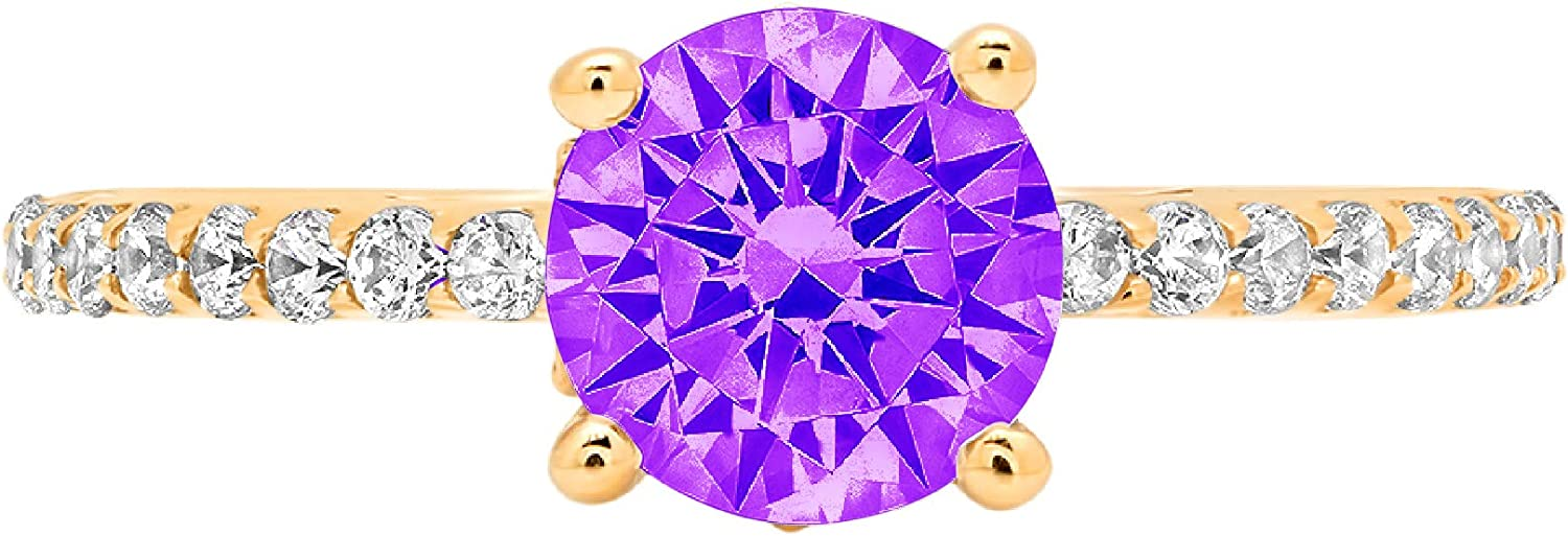 1.51ct Brilliant Round Cut cathedral Solitaire Natural Purple Amethyst Gem Stone VVS1 Designer Modern Statement with accent Ring Solid 14k Yellow Gold Clara Pucci