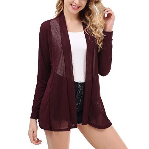 1ab84c0d006a27 Uniboutique Women s Casual Long Sleeve Open Front Lightweight Cardigan  Sweater