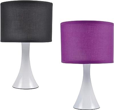 HOMEA 6LPE345 Lampe, Metal, 40 W, Noir Violet, DIAMETRE 9.5 H.30cm