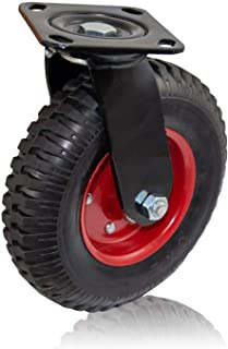 Houseables Caster Wheel, Industrial Casters, 8 Inch, 1 Wheel, Red Rim, Rubber, Cast Iron, Large, Heavy Duty Tires, Outdoor...